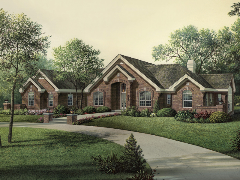 Ranch House Plan Front of Home 007D-0165
