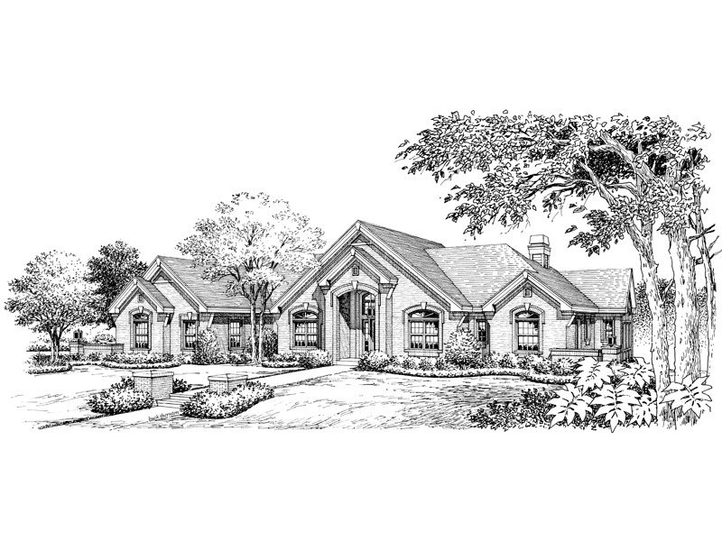 Traditional House Plan Front Image of House 007D-0165
