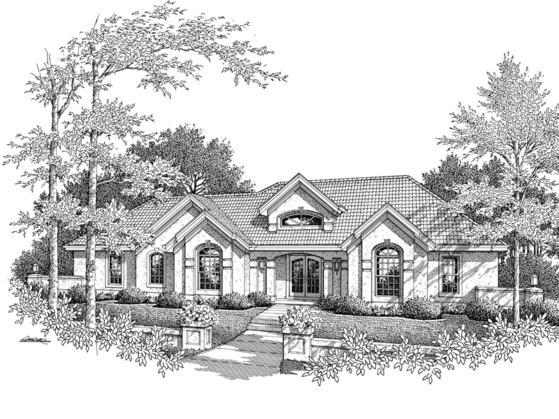 Southwestern House Plan Front Image of House 007D-0166