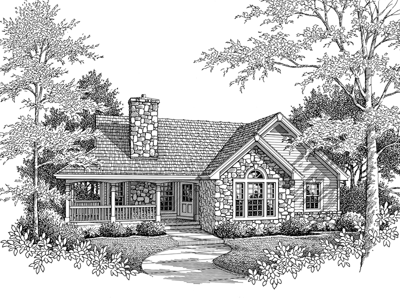 Traditional House Plan Front Image of House 007D-0169