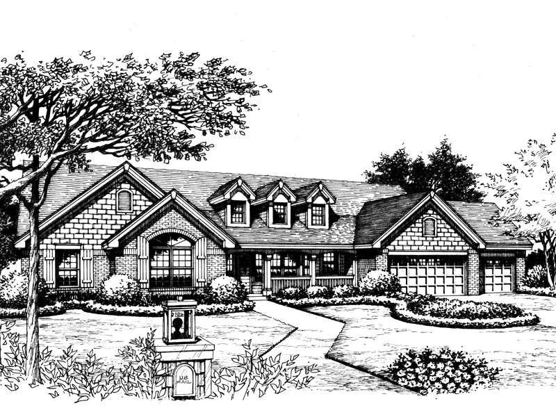 Traditional House Plan Front Image of House 007D-0174