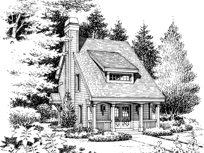 Cabin and Cottage Plan Front Image of House 007D-0179