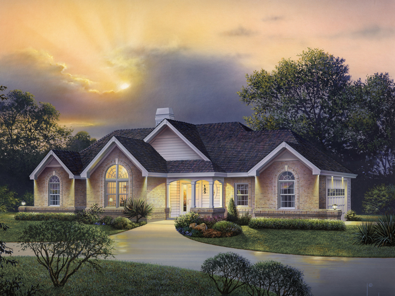 Ranch House Plan Front of Home 007D-0185