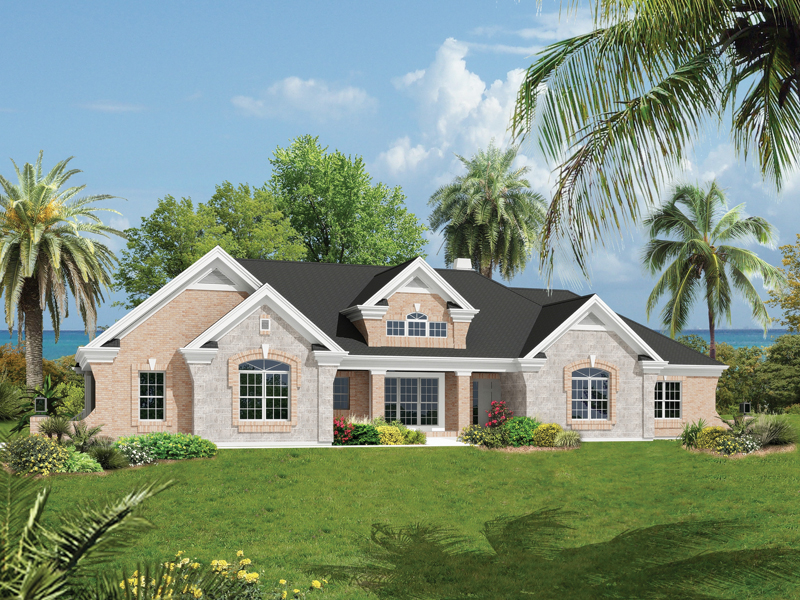 fancy stone exterior decorates this florida home - Exterior House Plans