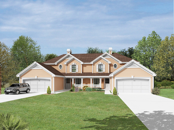 Hickory Manor Duplex Home Plan 007d 0190 House Plans And