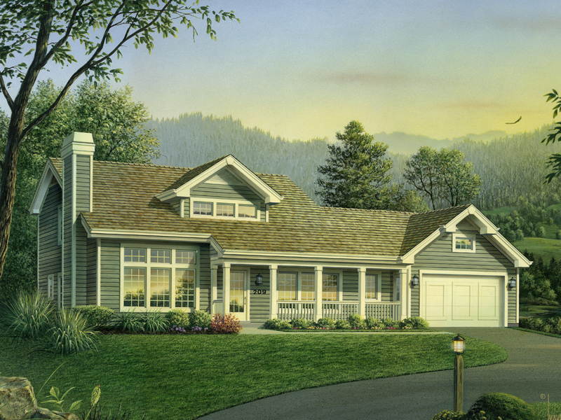 Country House Plan Front of Home 007D-0209