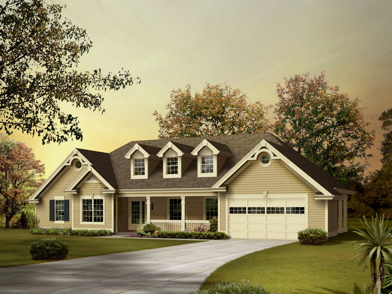 ranch home with hip roof and covered entrance design ideas home remodel designer Traditional Ranch Home With Three Dormers And Covered Front Porch. ©  Copyright by designer-architect Drawings and photos ...