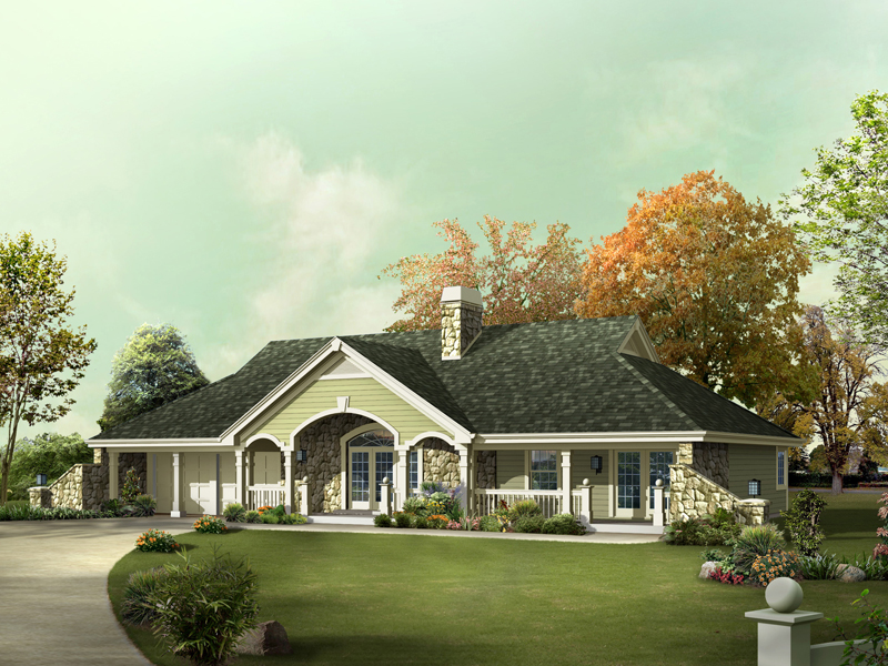 Ranch House Plan Front of Home 007D-0216