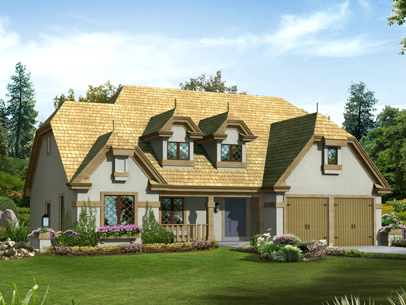 English Tudor House Plan Front of Home 007D-0218