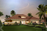 Floridian Style Stucco Ranch With Half Wall 