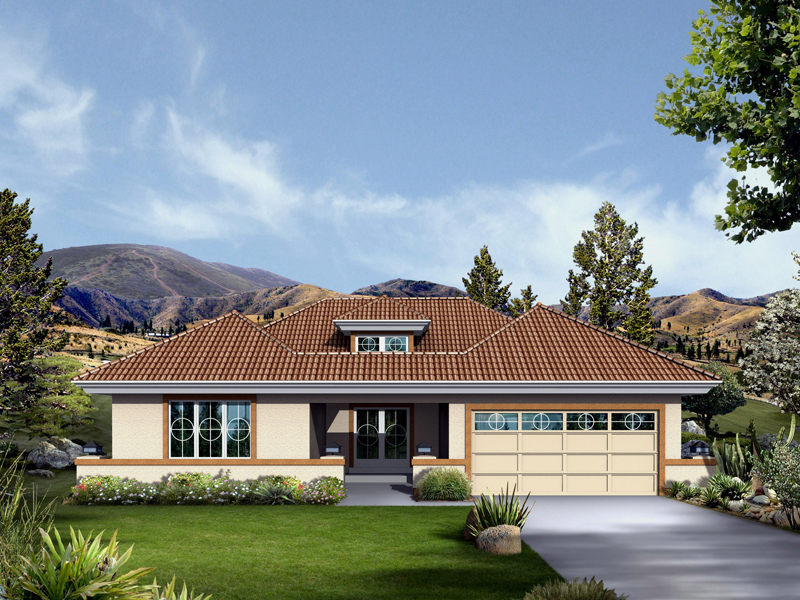 Ranch House Plan Front of Home 007D-0221