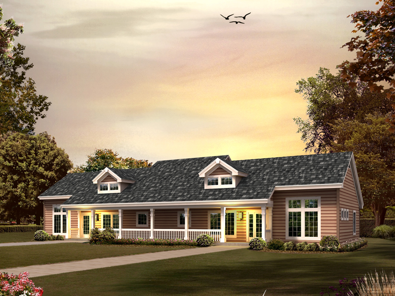 Ranch House Plan Front of Home 007D-0223