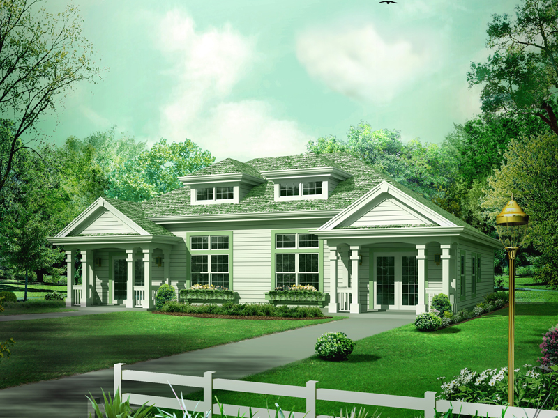 Ranch House Plan Front of Home 007D-0225