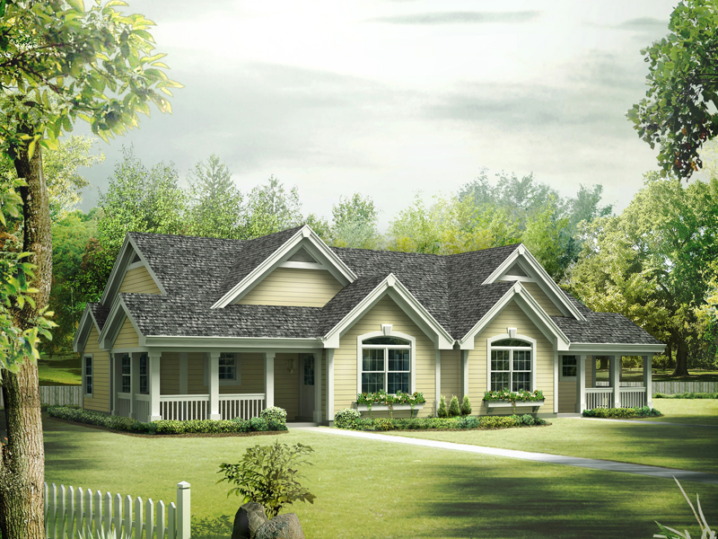 Ranch House Plan Front of Home 007D-0226