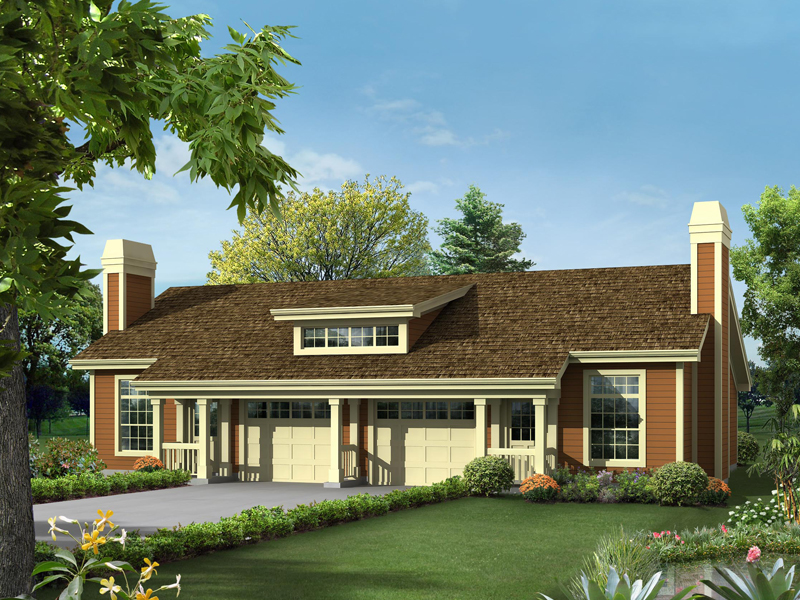 Woodmuir place duplex home plan 007d 0227 house plans for Ranch duplex plans