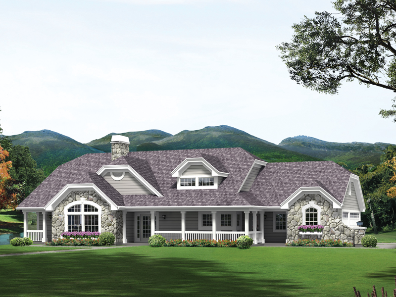 Ranch House Plan Front of Home 007D-0232