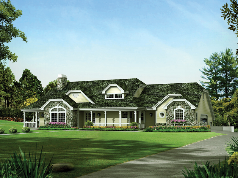 Ranch House Plan Front of Home 007D-0234