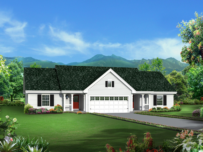 Turnberry place ranch duplex plan 007d 0243 house plans for Ranch duplex plans