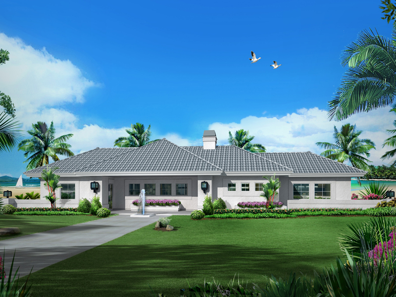 Waterfront Home Plan Front of Home - 007D-0251 | House Plans and More