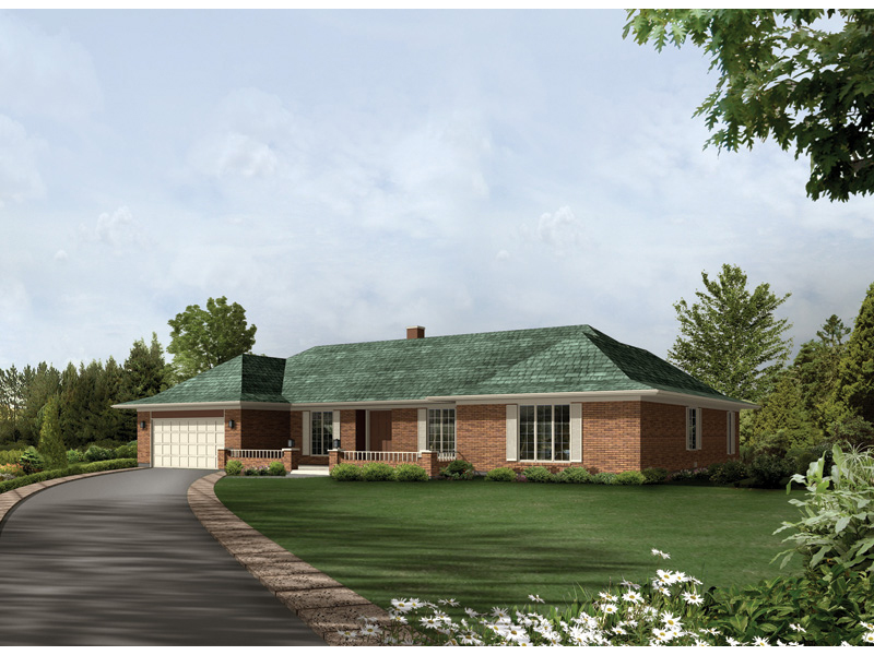 Ranch House Plan Front of Home 008D-0009