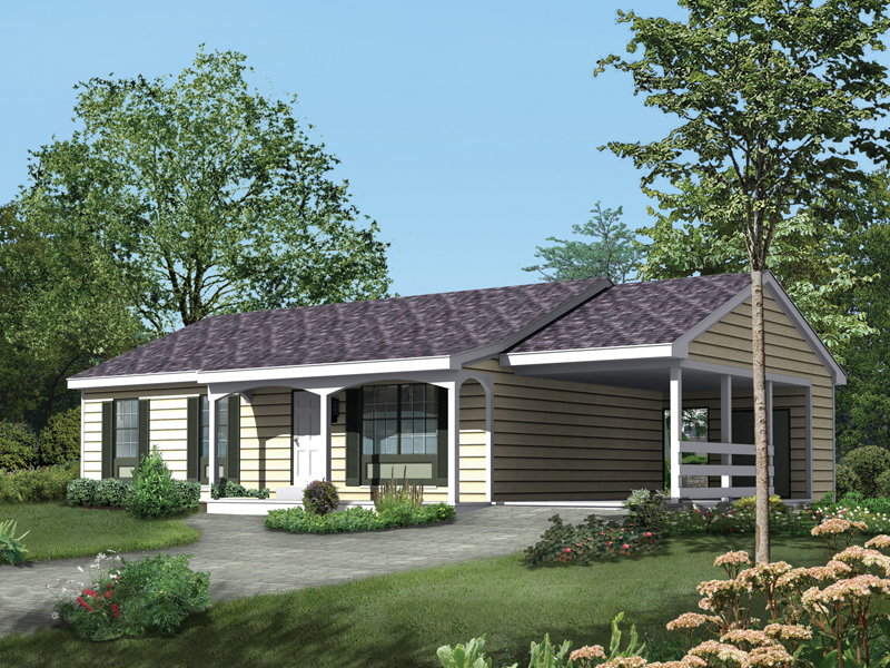 Ranch House Plan Front of Home 008D-0026