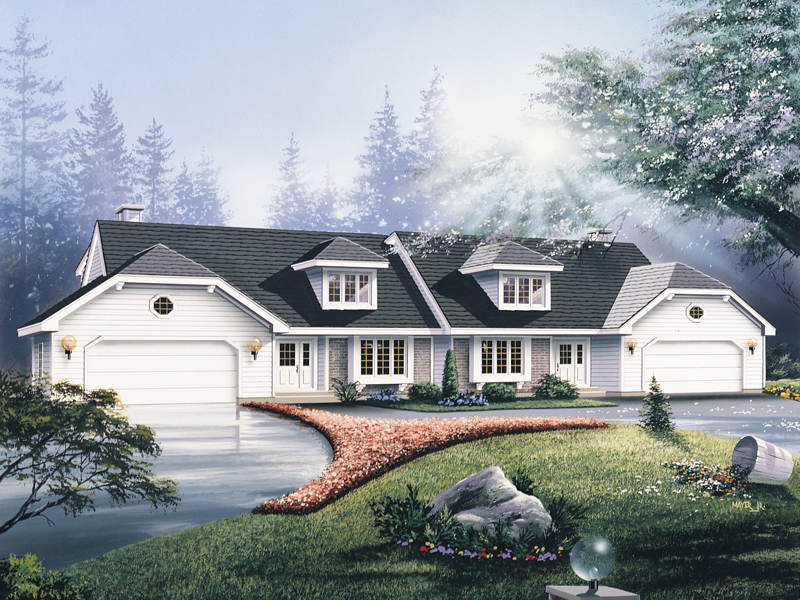 Traditional House Plan Front of Home 008D-0032