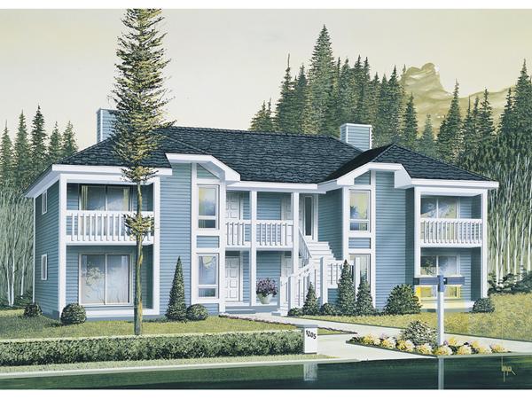 Harborview two story fourplex plan 008d 0034 house plans for Modern 4 plex plans