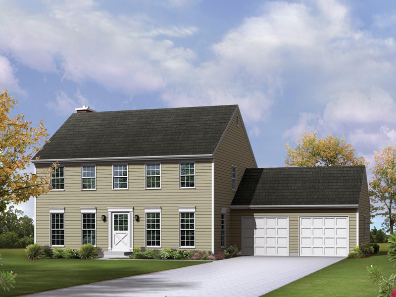 Colonial House Plan Front of Home 008D-0037