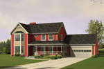 Cheerful Farmhouse With Decorative Front Porch And Bay Window