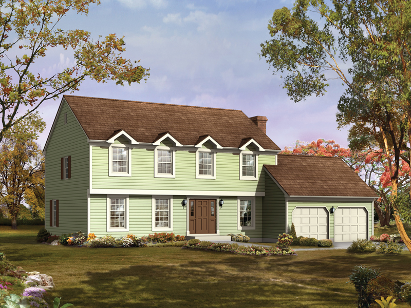 Colonial House Plan Front of Home 008D-0043