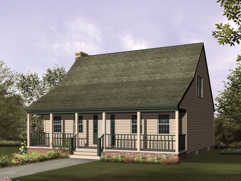 Saltbox House Plan Front of Home 008D-0048