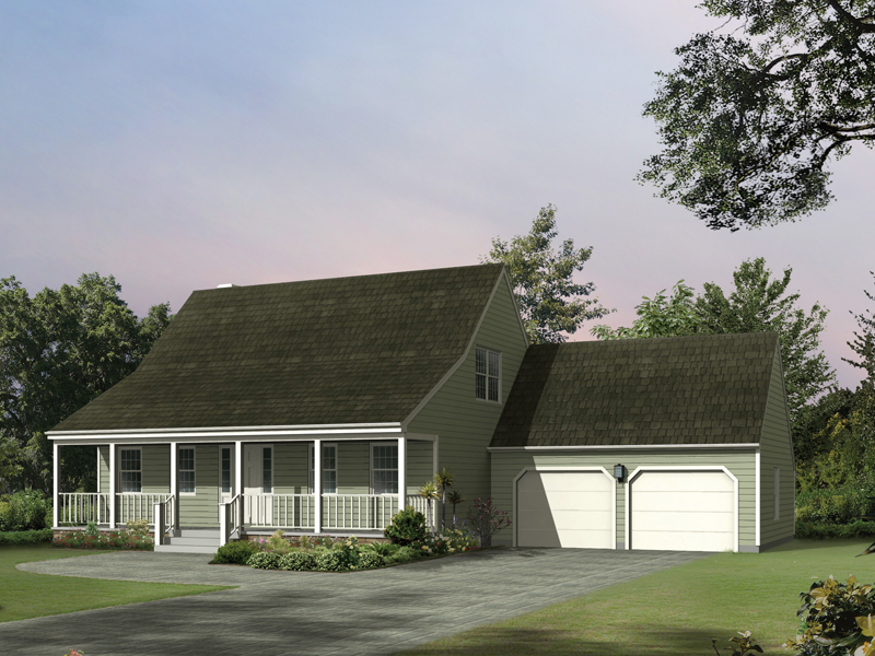 Saltbox House Plan Front of Home 008D-0097