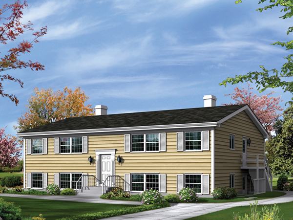 Wayland split level fourplex plan 008d 0113 house plans for Modern fourplex designs
