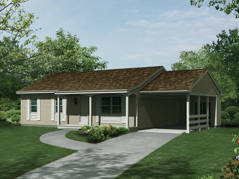 Ranch House Plan Front of Home 008D-0123