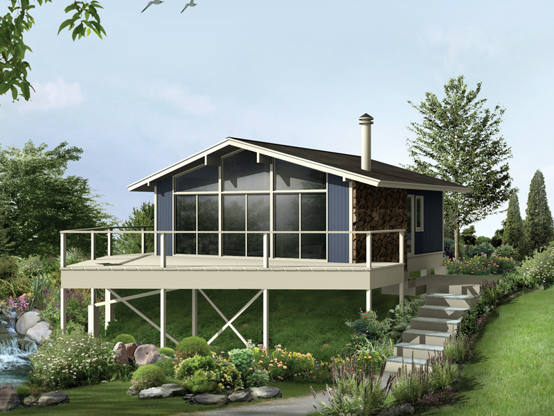 Vacation Home Plan Front of Home 008D-0133