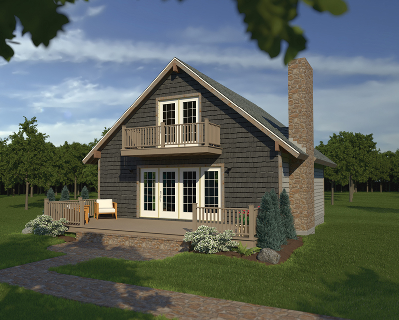 Vacation Home Plan Front of Home 008D-0134