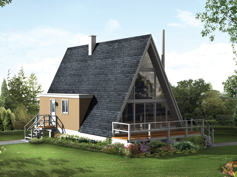 A-Frame House Plan Front of Home 008D-0136