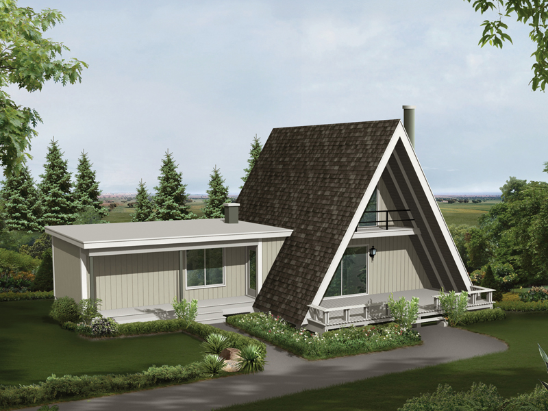 A-Frame Home Plan Front of Home 008D-0137