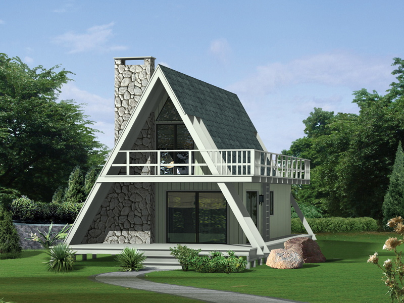 A-Frame Home Plan Front of Home 008D-0139