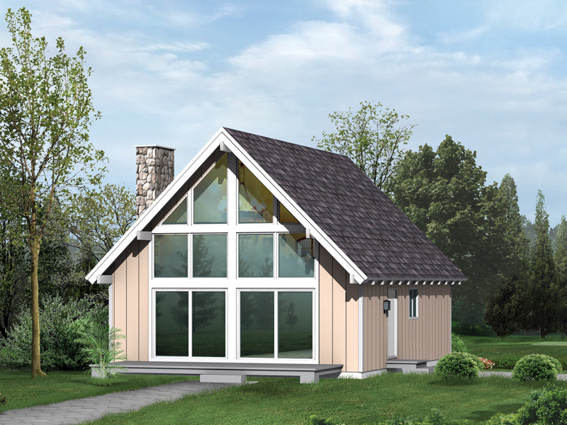 A-Frame House Plan Front of Home 008D-0140