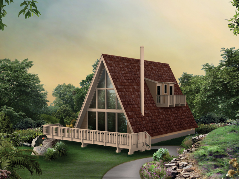 A-Frame Home Plan Front of Home 008D-0142