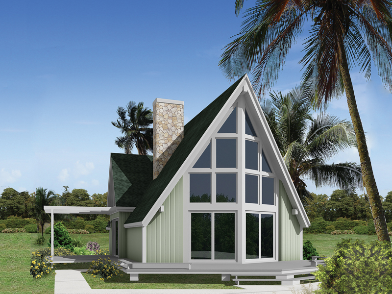 A-Frame House Plan Front of Home 008D-0145