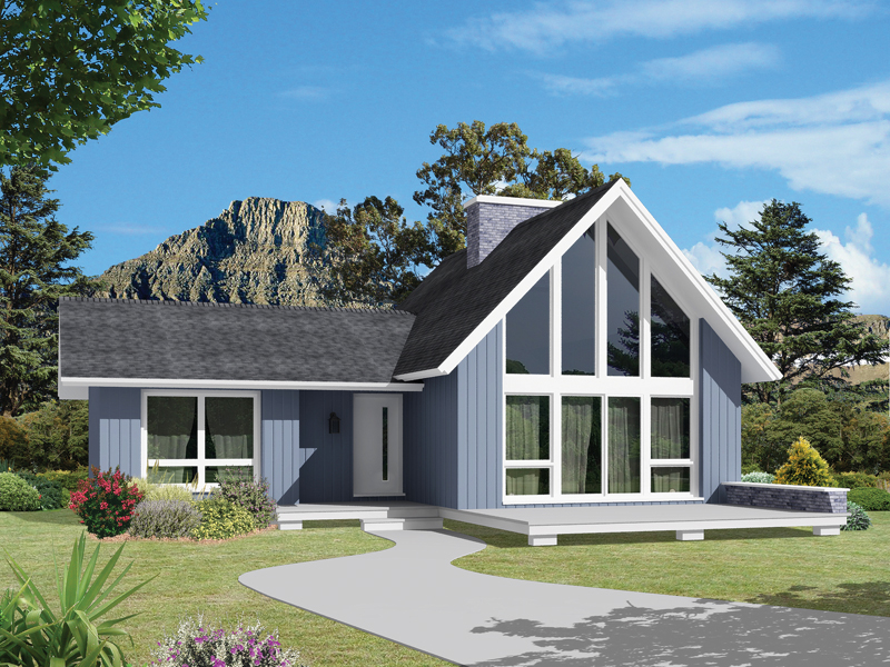 Vacation Home Plan Front of Home 008D-0149