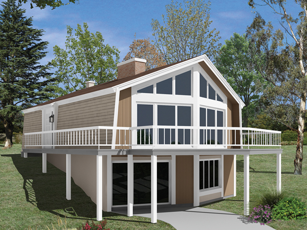 Skyliner a frame vacation home plan 008d 0151 house for Hillside home designs