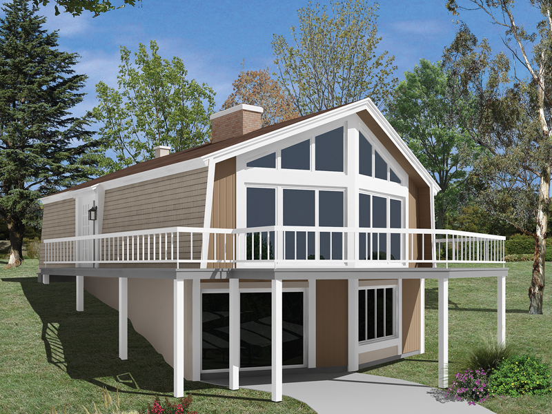 Skyliner a frame vacation home plan 008d 0151 house for Hillside cabin plans