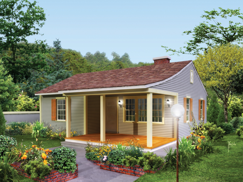 Vacation Home Plan Front of Home 008D-0159