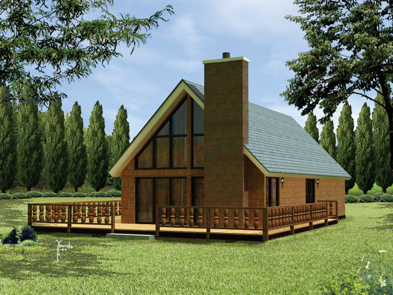 A-Frame Home Plan Front of Home 008D-0160