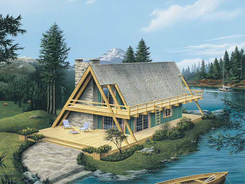 A-Frame Home Plan Front of Home 008D-0162