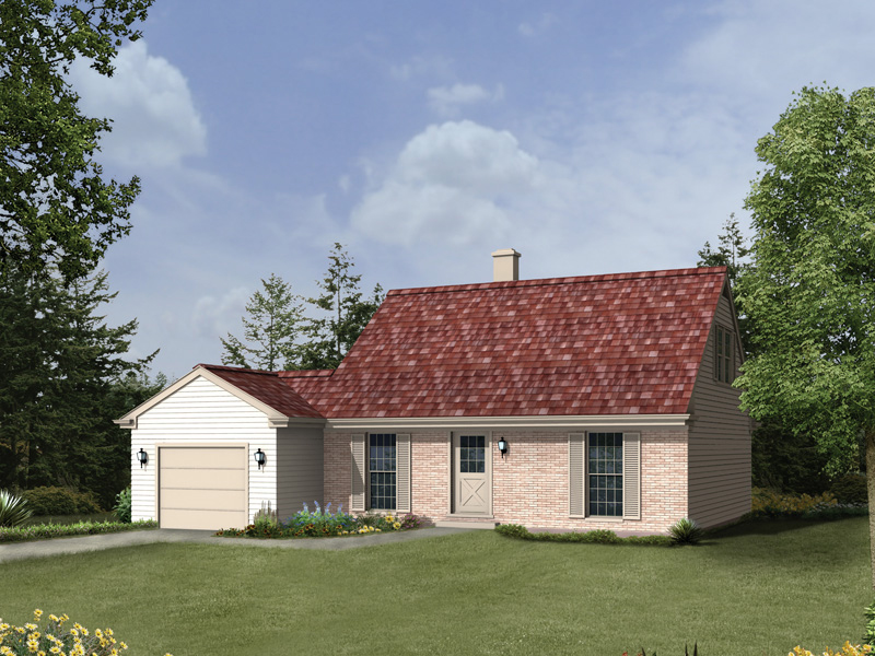 Saltbox House Plan Front of Home 008D-0177