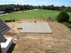 photo of recently constructed slab foundation - Slab Home Designs